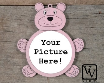 Pink Bear Picture Christmas Ornament