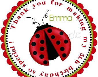 Ladybug birthday party Stickers, Ladybug party, Bugs, Personalized stickers, insects, favor Labels,set of 12