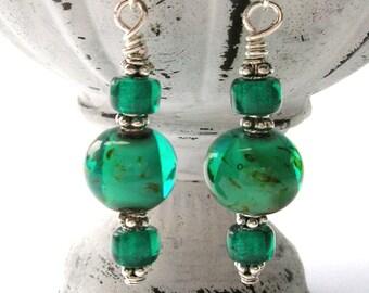 Teal Green Glass Art Bead Earrings - Sterling Silver Ear Wires - Handmade Earrings