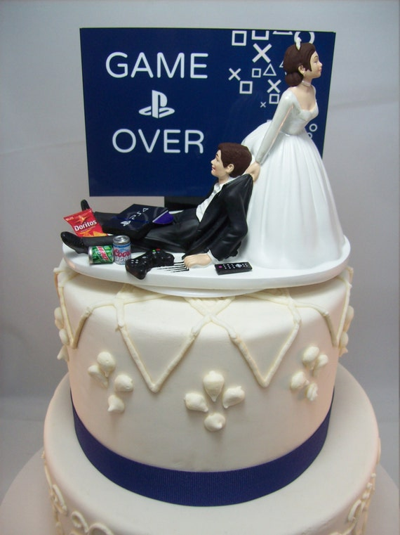 Game over playstation funny wedding cake topper video game like this item junglespirit Images