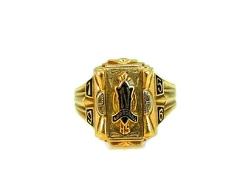 1956 Narbonne HS Class Ring Los Angeles CA 10k Gold Enamel