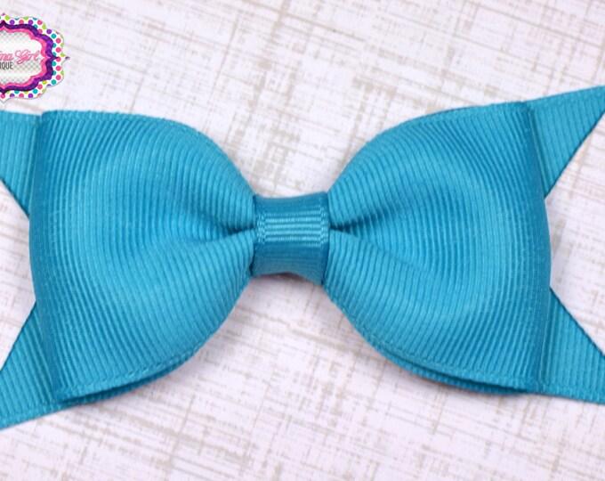 "Turquoise Tuxedo Bow  ~ 3.5"" Hairbow ~ Small Hair Bow ~ Girls Barrette ~ Toddler Bow ~ Baby Hair Bow ~ Hair Clip ~ Girls Hair Bow"