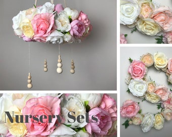 """Baby mobile chandelier and matching 16"""" floral letter, Pink, White & Cream Flower letter, Floral mobile with natural wooden beads"""