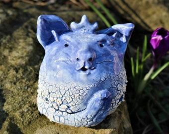 Cute little cat sculpture! Dumpy blue cat. Small cat. Pottery cat. Ceramic cat. Cat lover, weird creature, original art, hand made, unusual
