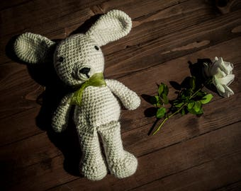 Knitted rabbit, bunny, wool