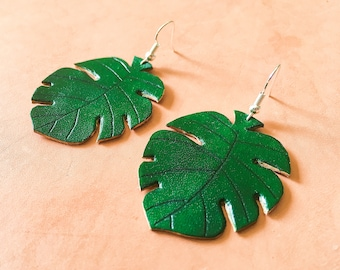 Monstera Leaf Leather Earrings, Lightweight Plants Earrings, Drop earrings , Handmade Gift For Her, Ready To Ship, Mountainfoxgoods