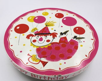 Sweet Vintage Musical Cake Stand - PInk Girl Clown with Balloons - Plays Happy Birthday - 1960s Fabcraft - Baby Birthday - Girl Birthday