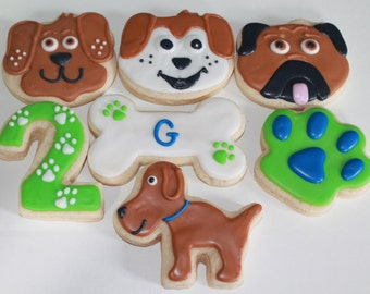 Puppy / Dog Pawty Birthday Party Decorated Sugar Cookies