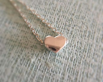 Tiny heart necklace//925 silver//Minimalist//Dainty//Delicate//Everyday//SS002