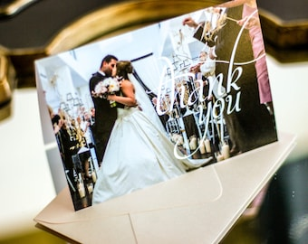 "Blush and Coral, Newlywed Thank You, Wedding Thank You Cards, Damask Stationery - ""Dramatic Script"" Folded Photo Thank You Cards - DEPOSIT"