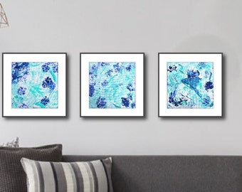 "Aqua Abstract Art Prints, Set of 3, Instant Download, Printable Abstract, Gallery Wall, 16"" Square, Home Decor, Blue Aqua"