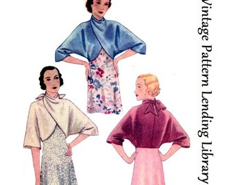 1932 Ladies Evening Wrap - Reproduction Sewing Pattern #T7144