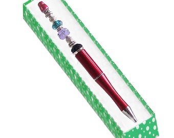 MERZIEs Red PEN lampwork glass drizzle floral bead add-a-bead spacers U PICK refill - Made & SHIPs from USA