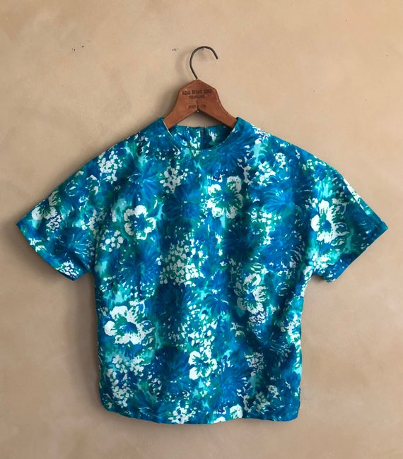 Vintage 50's  Hawaain Print Blouse - petite small crop style