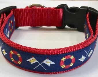 Ocean/Nautical Ribbon Adjustable Designer Dog Collar, Marine Boating Dog Collar, Pet Supplies, Veterinary Gift, Doggie Gift
