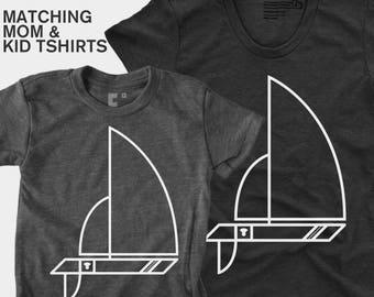 Matching Shirts, Sailboat, Mother Daughter, Mother Son, Mommy and Me, Mom & Baby, Matching Outfits, Gift for Wife, Mom, Nautical
