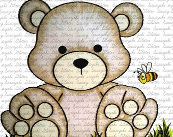 Cute Teddy Digital Stamp by Sasayaki Glitter