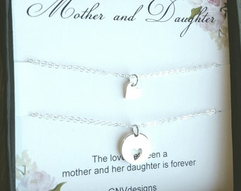 Silver Mother Daughter Heart Bracelet, Sterling Silver or Rose Gold Round Heart Cutout Bracelet, Gift set for mother and daughter