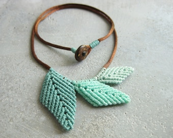 Leaf Necklace . Botanical Jewelry . Micro Macrame . Elven Natural Woodland Organic. Textile Fiber Jewellery . Design by raiz