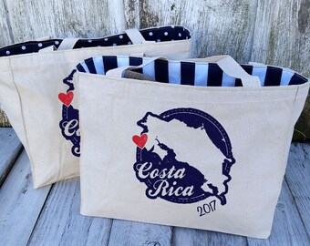 10+ LINED Custom Costa Rica Vintage Stamp Canvas Market Tote Bags - Destination Wedding Welcome Canvas Bags