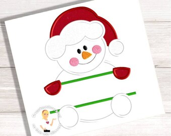 Snowman Split Embroidery Applique - 4 Sizes - Instant EMAIL With Download - for Embroidery Machines