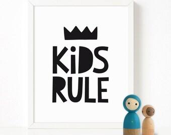 Kids rule nursery printable wall art, Scandinavian print, nursery decor, nursery art, kids poster, quote print