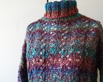 Reduced sweater hera Knitted roll collar earth rust green turquoise vegan pattern
