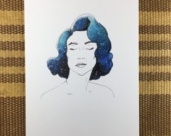 Galaxy Girl Lexie - Watercolor Art Note Card