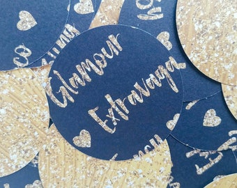 Black and gold heart confetti with fancy words, fancy confetti, glamour confetti, classy confetti, rococo, gold heart confetti, luxury, luxe