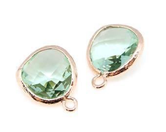 2pcs, P1750, Rose Gold Plated, Erinite, Glass fancy rosecut 12.5mm, Glass pendant, Framed glass