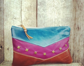 Leather Chevron Clutch In Teal, Purple and Spice Brown Leather