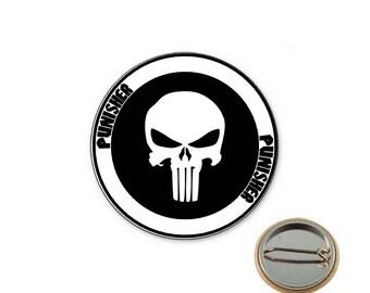 Punisher white Ø25mm pin badge