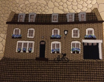 Mews House- Fabric  Art- Wall Hanging
