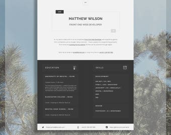 "Printable Word CV Template | Editable Word CV | CV Template | Modern Resume Design | Advice + Cover Letter Included | ""Old Street"""