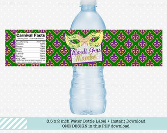 WATER BOTTLE LABELS Mardi Gras Mambo New Orleans Carnival Festival Fleur de Lis by The Silly Nilly Studio