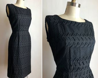 1960s black eyelet lace dress S ~ vintage sheath dress