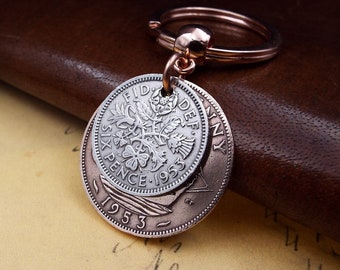 Genuine 1953 British Sixpence Ha'penny Double Coins Keychain 65th Birthday Gift