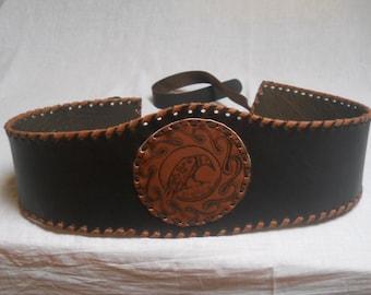 Leather Crow Celtic  Belt