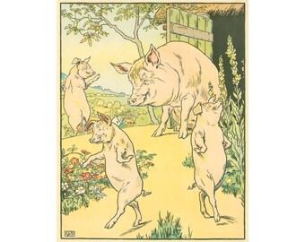 Three little pigs art print, Nursery wall art, Art for kids, Children's art, Fairy tale art, Antique book illustration, Storybook art print
