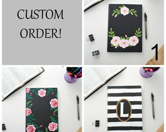 CUSTOM - XL Handpainted Cahier Notebook-Ruled-Bible verse notebook- KJV-Floral notebook - Flower notebook - Personalized - Stripes - Verses