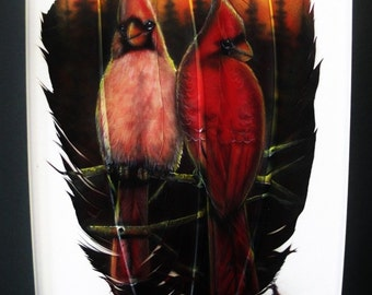 Cardinal Pair - Russ Abbott - Original Hand Painted Three Feather