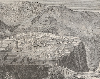 Algeria 1840, View From Constantine, Old Antique Vintage Engraving Art Print, Town, Buildings, Houses, Valley, Mountains, Hills, Bridge