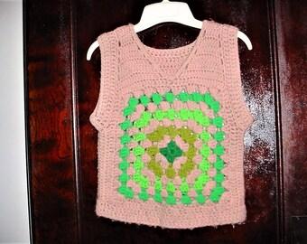 Vintage 60s Handmade Crochet Hippie Pullover Vest XL Granny Square