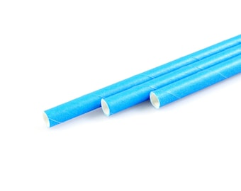 BLUE PAPER STRAWS (Set of 25) - Standard Size Straws in Solid Bright Blue (19.5cm x 0.6cm)