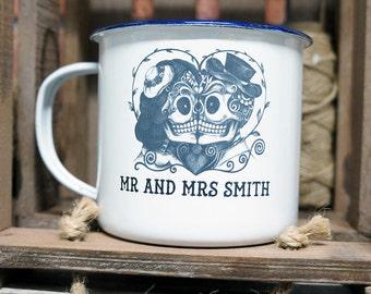 Enamel Mug Personalised Gift, Mr & Mrs Sugar Skull Tattoo