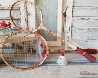 Dekoratives altes Federballspiel ~ alte Holzschläger ~ Federball ~ Badminton ~ Queen Schläger ~ ht2302