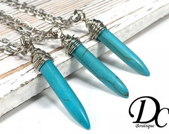 Turquoise Point Necklace, Turquoise Spike Necklace Blue Stone Necklace December Birthstone Turquoise Pendant Layering Jewelry, Wrapped Stone