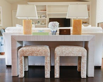 Custom Built Grasscloth Waterfall Console Table