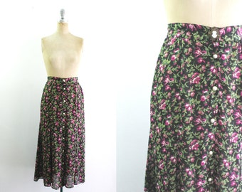 Vintage 1990s 90s Floral Midi Skirt 90s Floral Skirt 80s Floral Skirt 80s Midi Skirt 90s Midi Skirt Cameo Silhouette Small Size 2 Siz