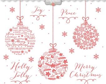 Clipart christmas ball chalkboard, christmas clipart, winter clipart, red christmas clipart, snowflakes clipart